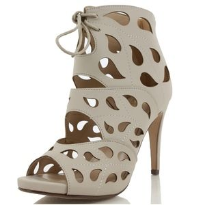 Clay Teardrop Lace Up Open Toe High Heel